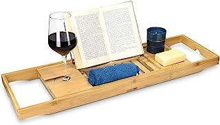 Navaris Bandeja para bañera de Madera - Bandeja Extensible de bambú con Soporte para Libro o Tablet y para Copa - Ajustable a la bañera