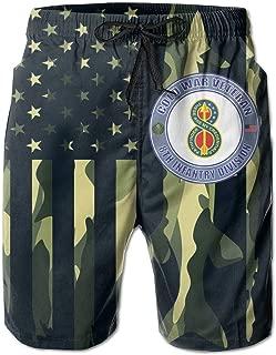 SUNSANKUKE US Army Aviation Mens Quick Dry Swim Trunks Beach Shorts with Mesh Lining