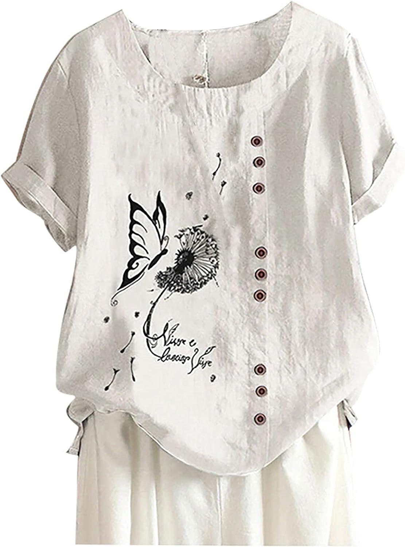 Summer Blouse for Women, 2021 Popular Cotton Linen Shirts O-Neck Short Sleeve Loose Tee Blouse Tops