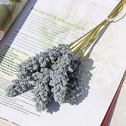 Künstliche Blumen 6pcs / Lot künstliche Blumen Mini-Schaum Weizenkorn Hauptdekoration Hochzeit gefälschte Blumen liefern Anordnung Balkon im Freien Dekor (Color : Blue)