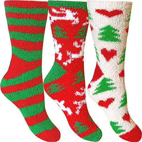 Women's Fluffy Stripes & Polka Dot Co-Zee Thermal Socks...