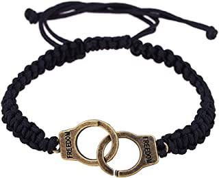 Clearance Oillian Women Fifty Shades of Grey Handcuffs Punk Braided Freedom Adjustable Zinc Alloy Bracelet Gift for Girlfriend Wife Girls Lady