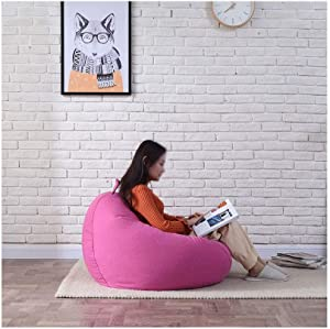 RKRCXH Living Room Beanbag Home Back Bean Bag Cute Pattern Bedroom Living Room Comfortable Casual Simple Back Seat Tatami  Color Rose red  Size 35 4x39 4in