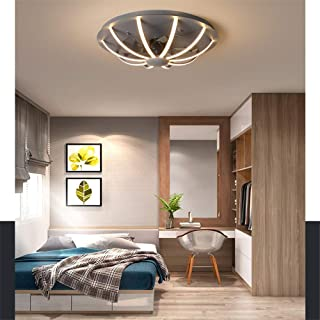 SMG Potenciar Ventilador De Techo De Edificio Con Mando A Distancia Y Luces LED, Ventilador De Moda, Silent Motor, 3 Velocidad Interruptor De Temperatura De 3 Colores 220V 60 Cm,Gris