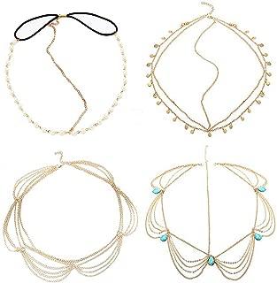 BlueSpace Diademas para la Cabeza de la joyería Boho Accesorios para el Cabello Turquesa Perla Diadema para Mujeres y niñas 4 Unidades