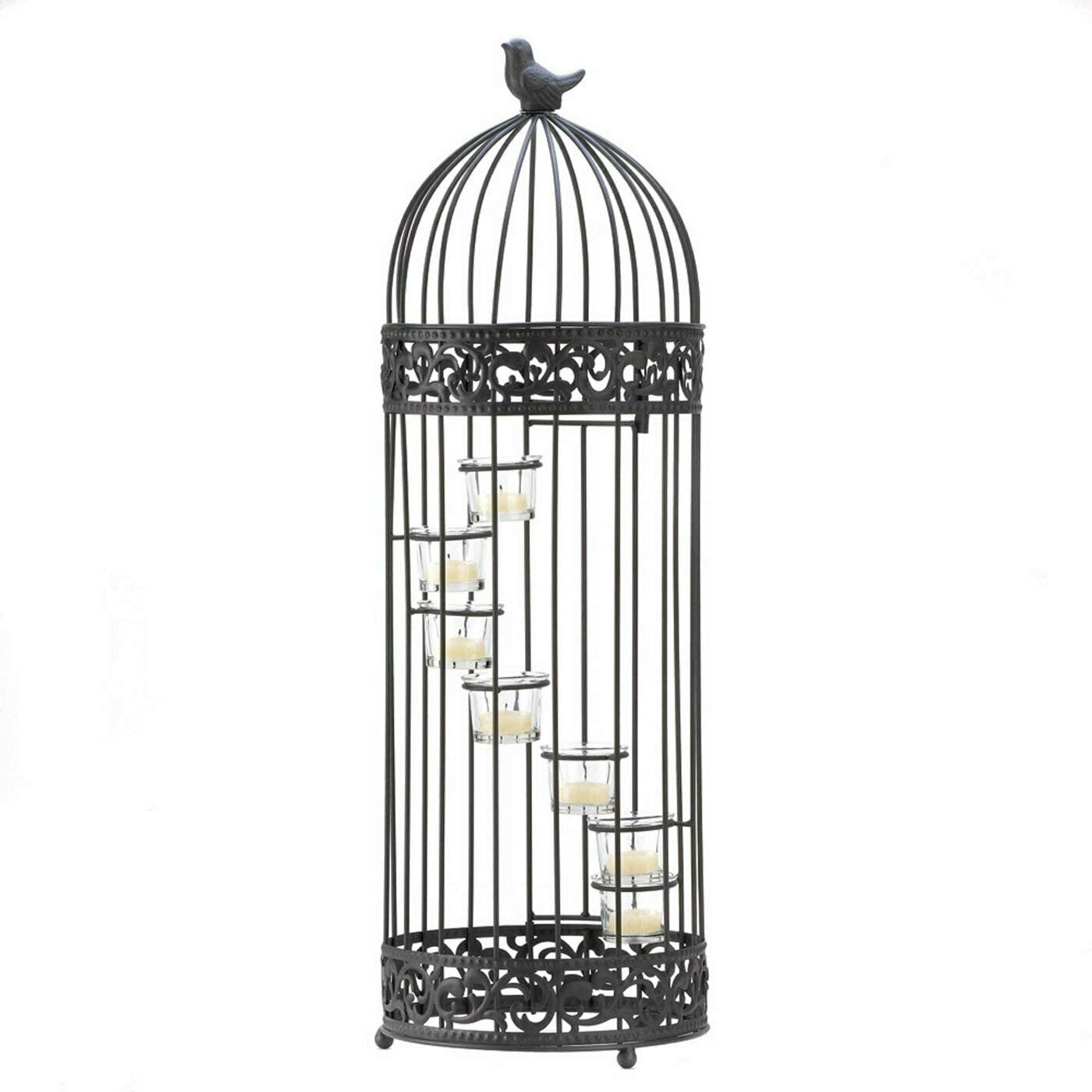 Koehler Home Decor Gift Accent Birdcage Te Max 68% OFF Glass Staircase Metal Financial sales sale