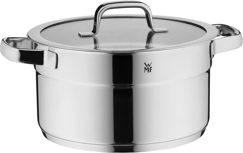 WMF Cacerola Compact Cuisine de 24 cm de alto, tapa de cristal, olla de carne de 5,6 l, acero inoxidable Cromargan pulido, escala interior, apilable, para inducción