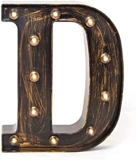 Glintee LED Marquee Letter Lights Vintage Style Light Up 26 Alphabet Letter Signs for Wedding Birthday Party Christmas Home Bar Cafe Initials Decor(D)