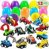 JOYIN 12 Pcs Huevos de Pascua Juguete Rellenos de Mini Juguetes Coches Camión Vehículo de Construcción Carrier Truck para Niños