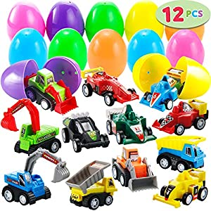 """joyin 12 pcs filled easter eggs with toy cars, 3.2"""" (8cm) bright colorful easter eggs prefilled with pull back construction vehicles and race cars JOYIN 12 Pcs Filled Easter Eggs With Toy Cars, 3.2"""" (8cm) Bright Colorful Easter Eggs Prefilled With Pull Back… 612KVQFpPeL"""