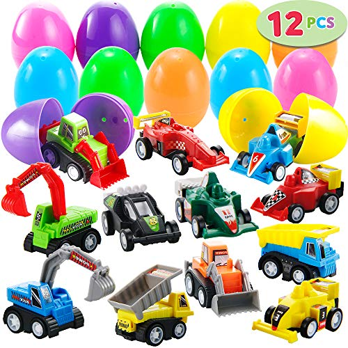 "Best Price JOYIN 12 Pcs Filled Easter Eggs with Toy Cars, 3.2"" Bright Colorful Easter Eggs Prefill..."