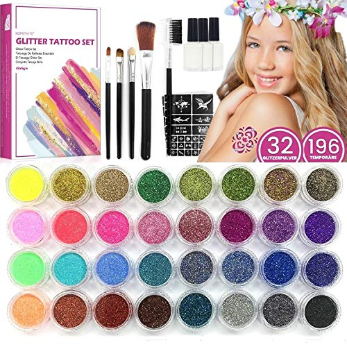 Glitzer Tattoo Set für Kinder, Temporäre Glitzer Tattoo-kit Make Up Körper Glitzer Kunst Design, mit 32 Großen Glitzertuben & 196 Schablonen & 3 Glue & 5 Bürstenn, für Künstlerische Parteie Festivals
