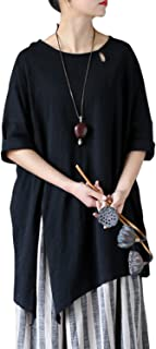 Aeneontrue Women's Cotton Short Sleeve Irregualr Hem Tunic Tops T-Shirts Blouses Tees