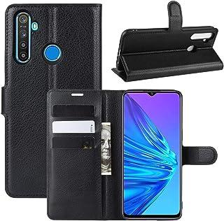 財布&ホルダー&カードスロットとOPPO Realme 5ライチテクスチャ水平フリップレザーケースについては林(ブラック) HDJ (Color : Black)