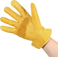Anself Men's Work Cowhide Gloves Gardening Digging Planting Leather Working Gloves Plant Flower Pruning Protective Glove D...
