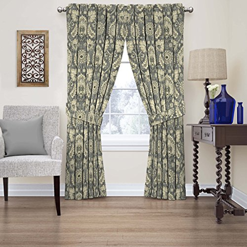 """WAVERLY Chifton Hall Paisley Curtains for Bedroom or Living Room, Single Panel, 52"""" x 84"""", Flax"""