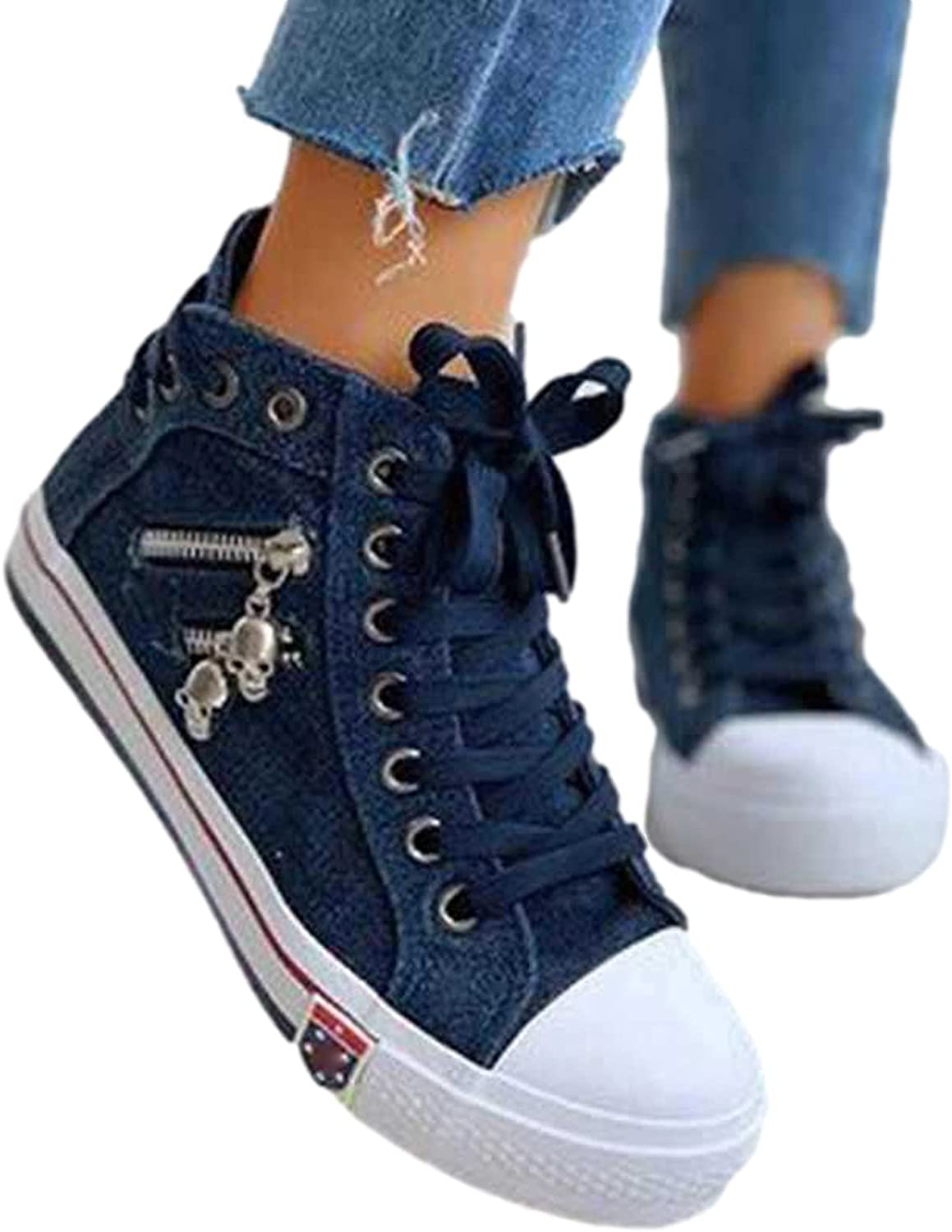 Womens High Top Canvas Sneakers Canvas Shoes, Women's Fashion Sneakers Comfort Flat Fashion Shoes Fashion Sneakers for Women, Classic Zipper Canvas Shoes Casual Shoes for Walking