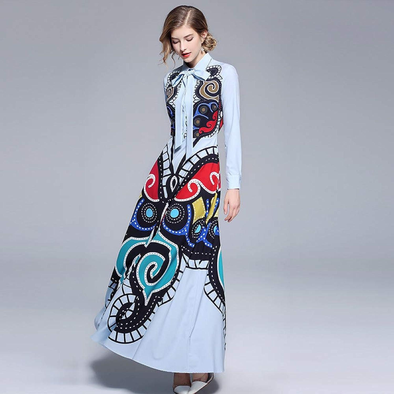 Cxlyq Dresses Fashion Long Skirt Doll Collar Print Dress
