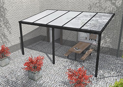 Easy Edition Hochwertige Aluminium Terrassenüberdachung, Terrassendach 403,5 x 300 cm (BxT) - anthrazit RAL 7016 inkl. Polycarbonat Opal 16 mm