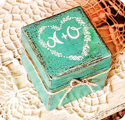 Rustic ring bearer Blue Wedding ring box Engagement ring box Wooden ring box Wedding Wedding ring holder Rustic ring box Proposal box