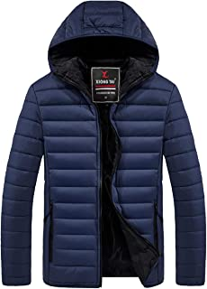 Men's Lightweight Packable Puffer Down Jacket with Hooded Winter Water-Resistant Coat Outwear