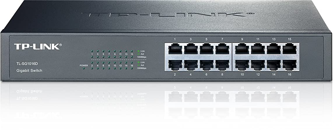 TP-Link 16-Port Gigabit Ethernet Unmanaged Switch | Plug and Play | Metal | Desktop/Rackmount | Fanless | Limited Lifetime (TL-SG1016D)