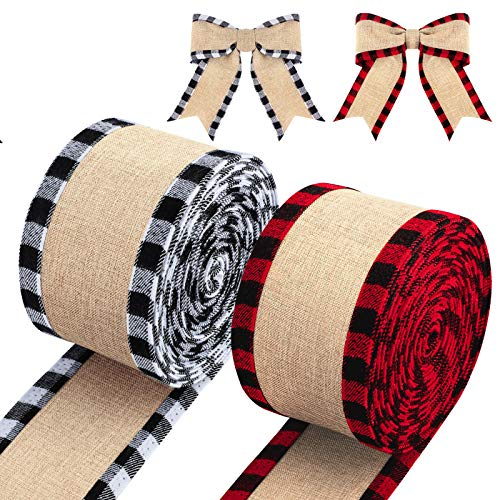 URATOT 2 Rolls Christmas Buffalo Wired Edge Ribbons Plaid Ribbon Fabric Craft Ribbon Natural Wrapping Ribbon with Checked Patterns for DIY Craft Christmas Decoration, Red and Black, White and Black