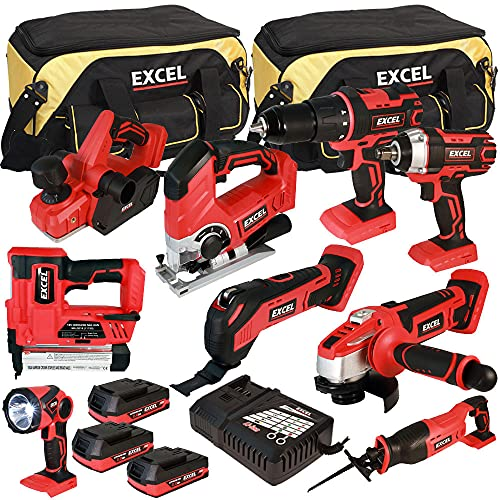 Excel EXL5067 18V 9 Piece Power Tool Cordless Kit with 3 x 2.0Ah Batteries & Smart Charger in Bag
