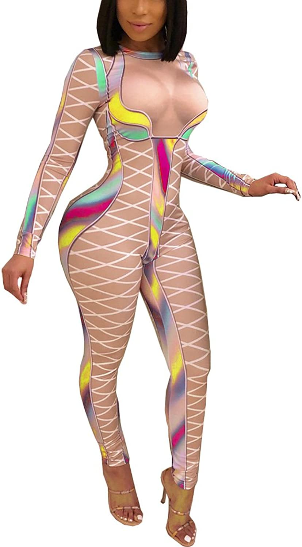 Kafiloe Women Sexy 3D Print Mock Neck Long Sleeve Bodycon Jumpsuit Long Pants Romper Clubwear