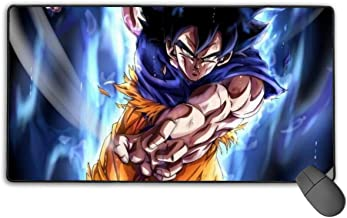 NiYoung Goku Mastered Ultra Instinct Aura Mouse Pad Large Water-Resistant Mouse Mat Gaming with Non-Slip Rubber Base Durable Stitched Edges, Home Computer & PC Work Mouse Pad