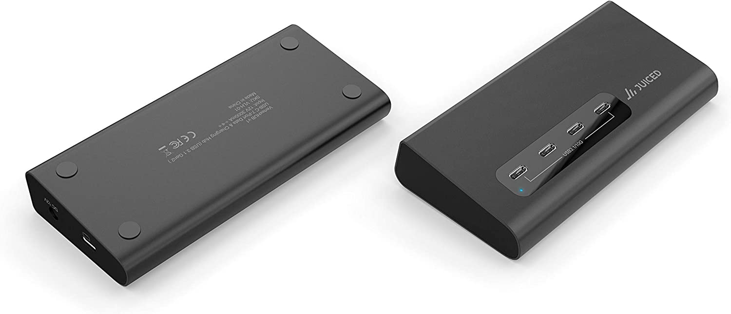 Juiced Systems VertexHUB   USB-C 10 Gbps Dedicated Data and Power Hub - USB-C and USB-A Compatible - USB 3.2 Generation 2