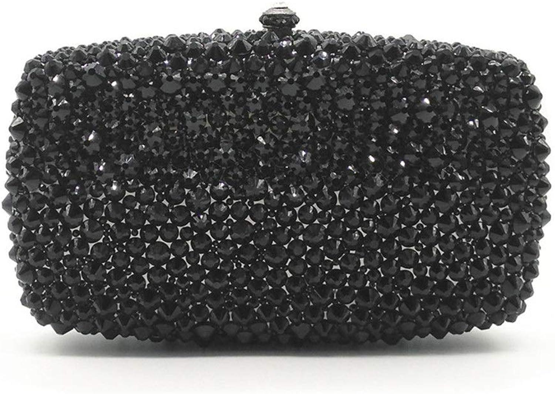 Sturdy Fashian Ms. Full Rhinestone Bridal Hand Clutch Crystal Dinner Lady Dress Handbag Large Capacity (color   Black)
