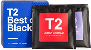 T2 Tea Sips - Loose Leaf Tea Gift Box, Black Tea - 10 Best of Black Tea Sachets, 45g (1.6oz)