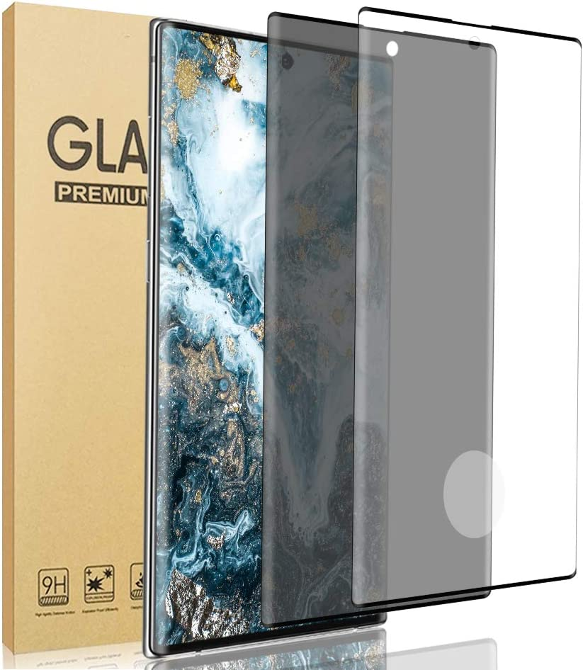 [2 Pack] Galaxy Note 20 Ultra Screen Protector [HD + Privacy Tempered Glass Film][ UltraSonic Fingerprint] [9H Hardness] [No-Bubble][Full Coverage] for Samsung Galaxy Note 20 Ultra 5G (6.9
