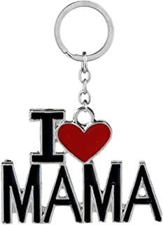 Family Member Gift for Mom Mother I Love Mama Keychains Key Ring Jewelry for Mother's Day Birthday from Daughter Son