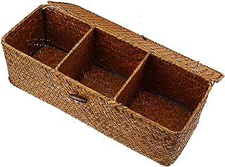 Panier de rangement Panier naturel avec couvercle 3 grille de paille en osier Boîte de rangement pour la table à domicile ...