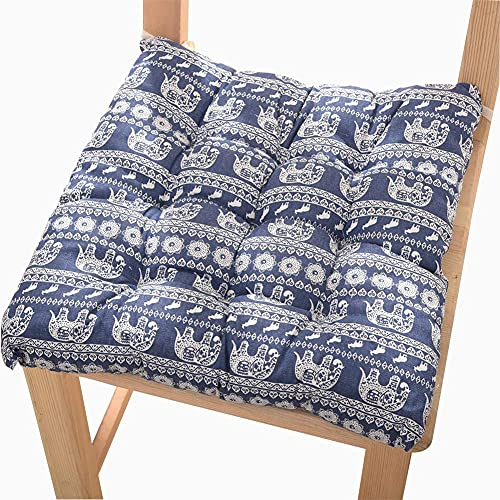 Pillowcase 123 Cuscini per sedie da Pranzo Giardino da Cucina Cuscini per sedie in Cotone 100% Cuscini per sedie con Cinghie Antiscivolo Set di 4 Cuscini per sedie per Interni Esterni