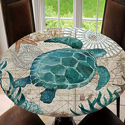 BeeMeng Elastic Edged Table Cloth Sea Turtle Perfect for Home or Restaurants Table Protection, Round Tablecloth Size 36'(Fit for 24.2'-28.1' Table)