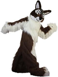 Langteng brun kista varg räv hund brun tecknad maskot kostym äkta bild 15-20 dagar leverans märke