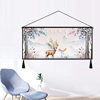 HappyL Living Room Decorative Canvas Tapestry Decorative Cloth Bedside Tapestry-140CM×65CM Tapestry (Pattern : A)