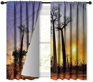 NUOMANAN Blackout Curtains,Sunset Tall Tree Madagascar Skyline,Rod Pocket Drapes Thermal Insulated Panels Home décor,52 x 63 inch