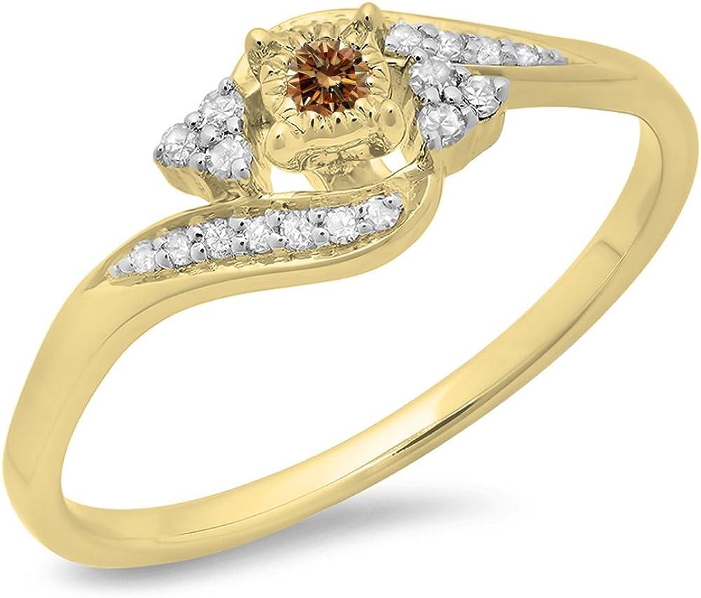 Dazzlingrock Collection 0.20 Carat (ctw) 10K Gold Round Champagne & White Diamond Ladies Swirl Promise Engagement Ring 1/5 CT