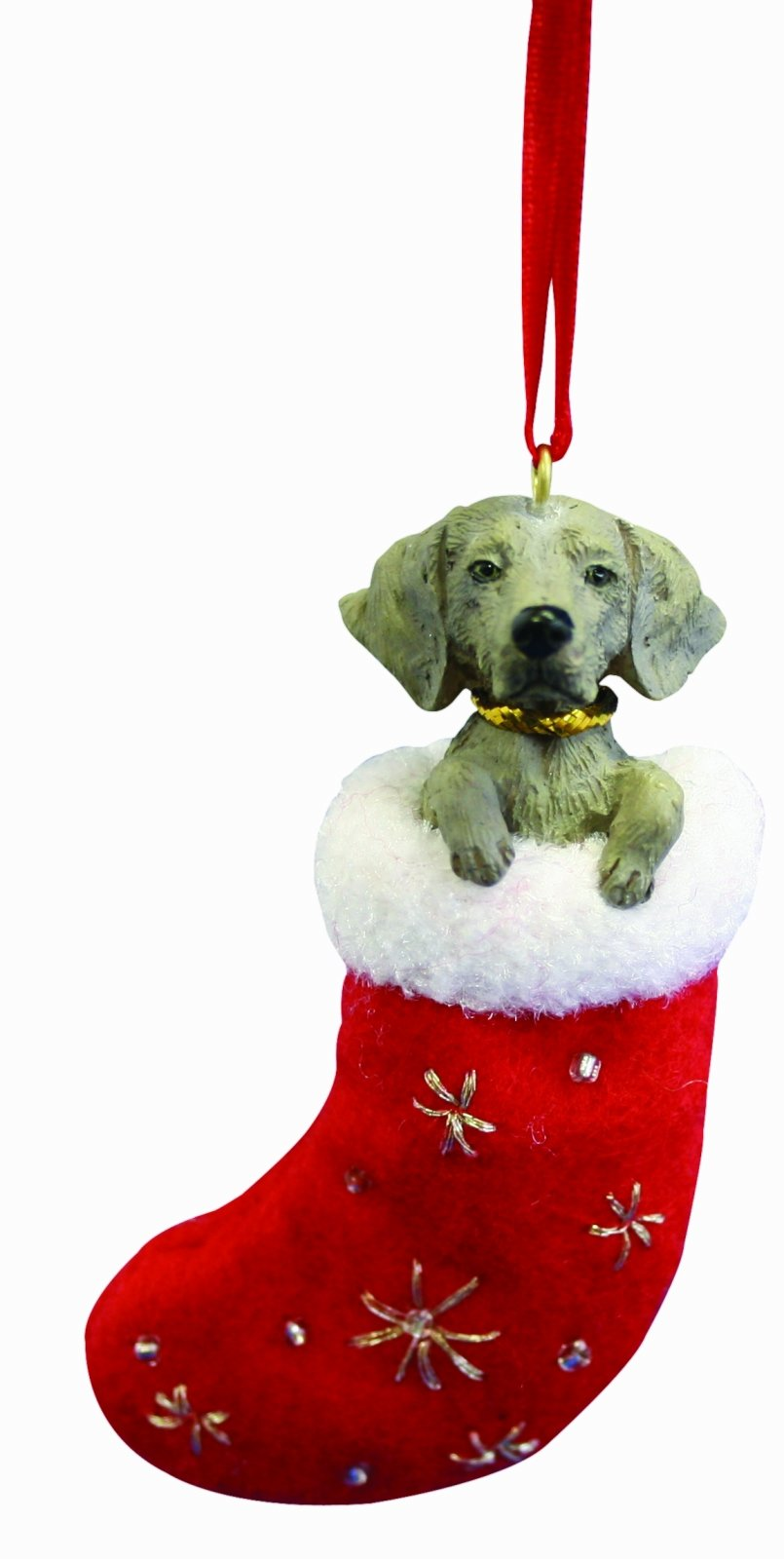 Amazon Com Weimaraner Christmas Stocking Ornament With Santa S Little Pals Hand Painted And Stitched Detail Pet Supplies