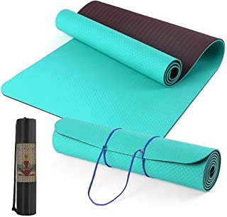 Lixada 72.05×24.01in Portable Double Dual-colored Yoga Mat Thicken Sports Mat Anti-slip Exercise Mat for Fitness Workouts ...