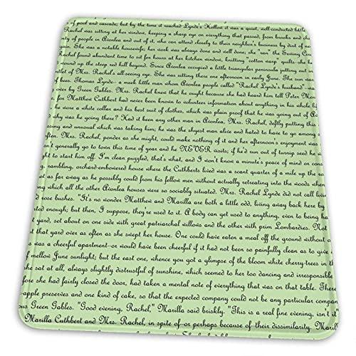 Anne of Green Gables Text Mauspad Rutschfeste Gummiunterlage für Office Gaming Computer mit genähter Kante