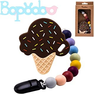 Baby Teething Toys,Pacifier Clip Holder with Silicone Teether Pendant Ice Cream for Newborn Babies Freezer Safe Neutral Shower Gift