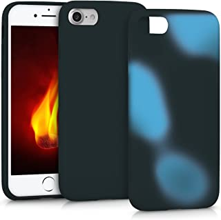 kwmobile Thermal Sensor Case for Apple iPhone 7/8 - Color Changing Fluorescent TPU Heat Sensitive Cover Black/Blue