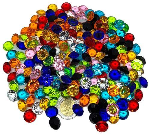 CRYSTAL KING - 200 pezzi, 15 mm, grandi diamanti decorativi colorativi, brillanti multicolore, trasparenti, per il fai da te, gioielli, pietre, strass, decorazione da tavolo.