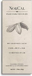 NorCal Organic - Paleo Vegan Single Source Origin - 88% Amazonian Cacao - Farm to Bean to Bar Dark Chocolate - 50,000 ORAC - 3.6% Polyphenolics - No Refined Sugar - Hu Healthy Antioxidants - 12 Bars