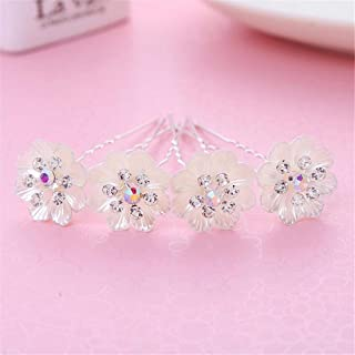 LUKEEXIN Bridal Hair Bun Hair Accessories Bridal Dress Accessories Wedding Bridal Handmade Headwear 2pcs (Color : White)